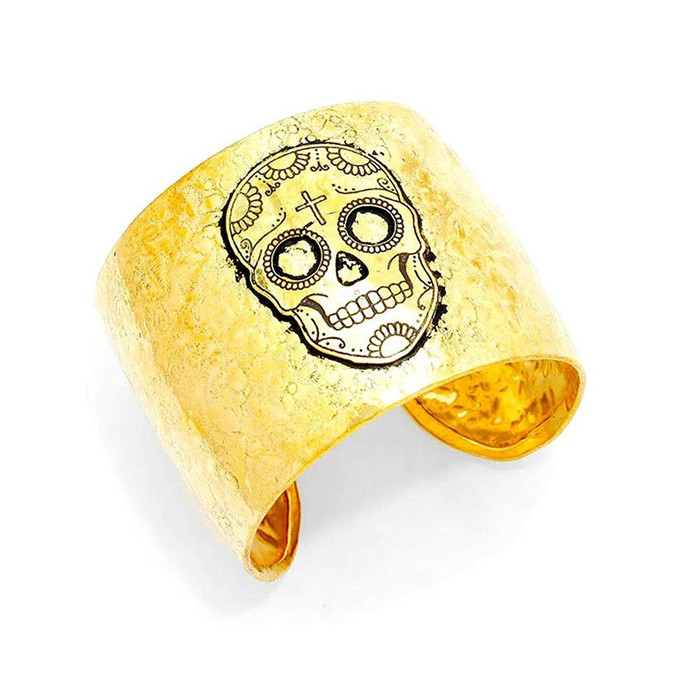 Golden Sugar Skull Cuff