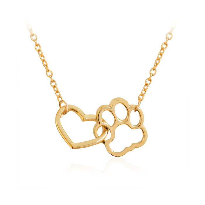 Golden Paw and Heart Interlocked Necklace