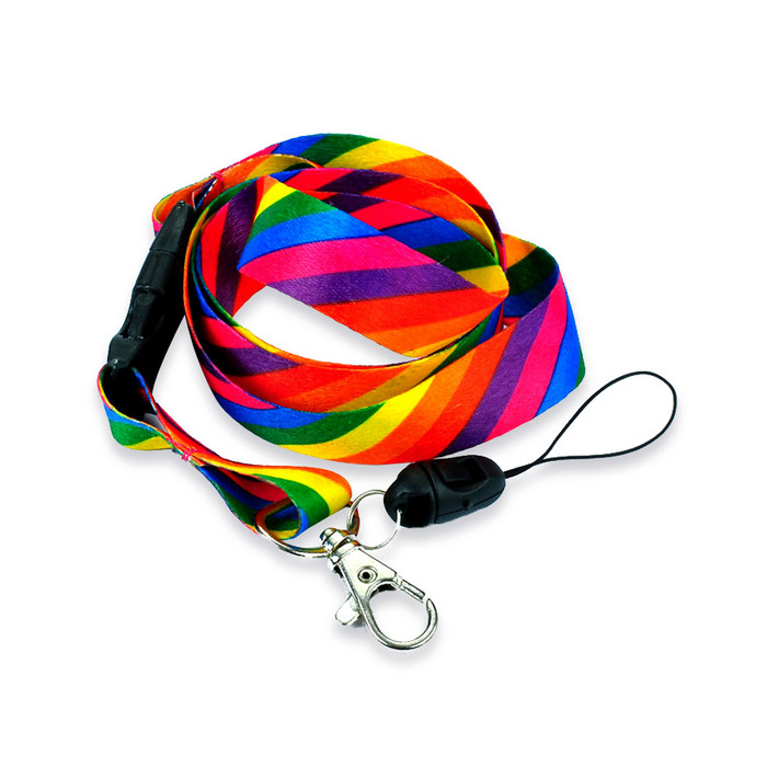 Diagonal Rainbow Striped Fabric Lanyard with Quick Release and 2 ID/Badge/Card Holders
