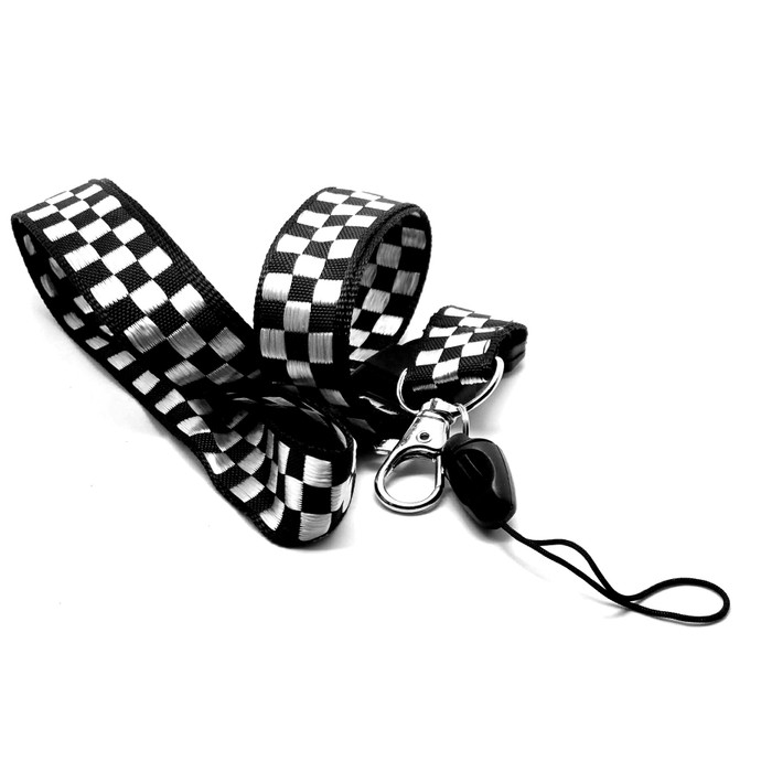 Black and White Checkered Embroidered Fabric Lanyard Necklace with 2 ID/Badge/Card Holders