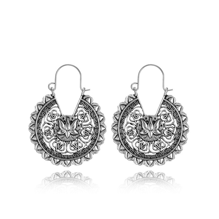 Antiqued Silver Filigree Circle Drop Earrings with Lotus Centers