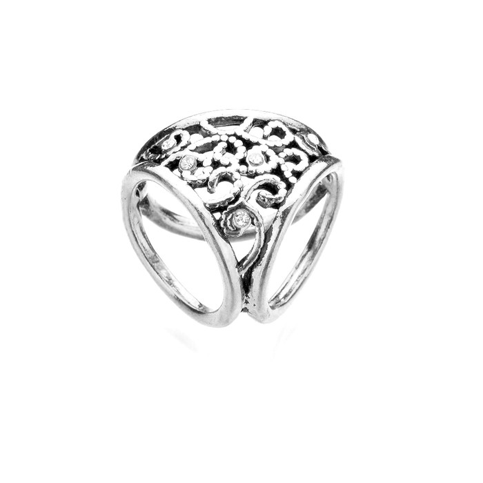 Bejeweled Antiqued Silver Three-Hole Scarf Ring