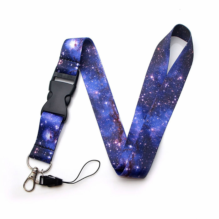 Outer Space Fabric Lanyard Necklace with Quick Release and 2 ID/Badge/Card Holders