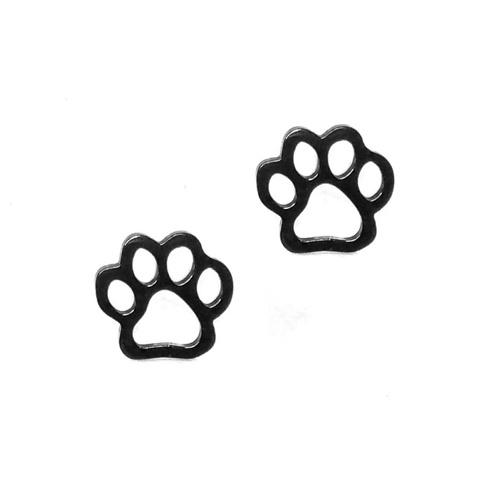 Black Paw Print Outline Post Earrings