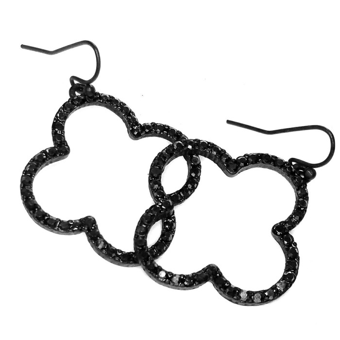 Bejeweled Black Quatrefoil Drop Earrings