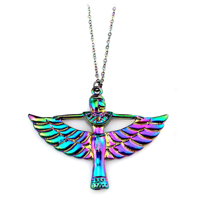 Rainbow-Effect Winged Isis Egyptian Necklace