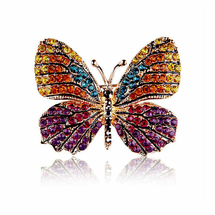 Vibrant Sunrise Crystal Butterfly Pin