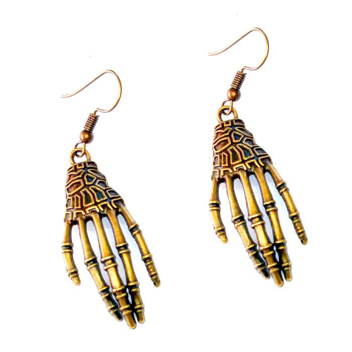 Golden Skeleton Hand Drop Earrings