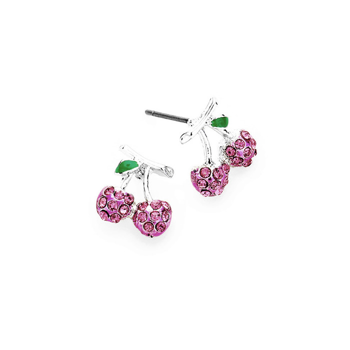 Pink Crystal Cherry Post Earrings