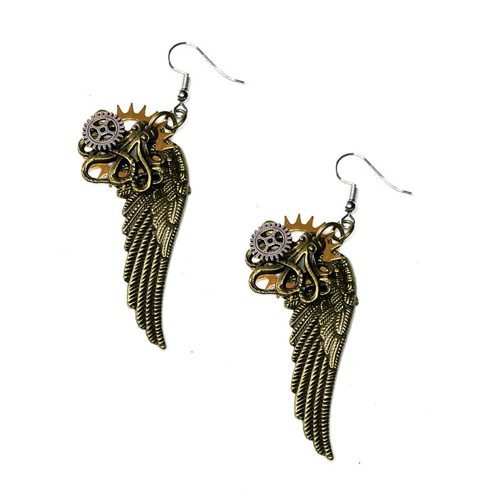 "2"" antiqued golden angel wings with an antiqued gold octopus, and silver and gold gears and cogs. Textured backs. Fishhooks."