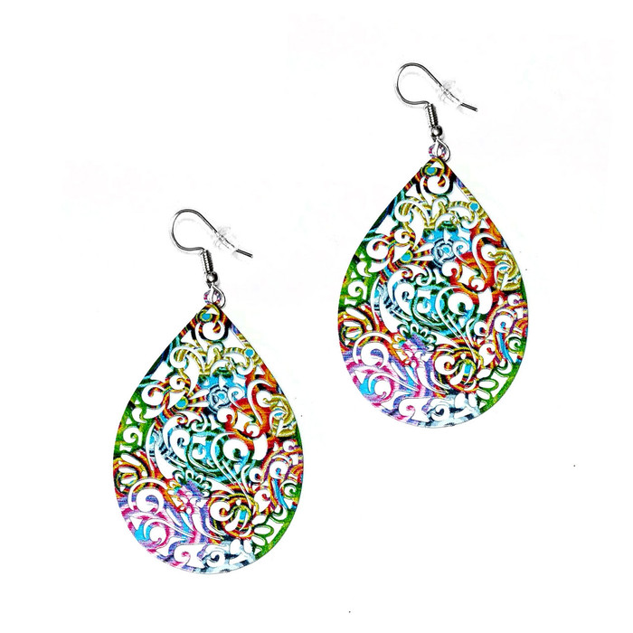 Feather-Light Multicolored Filigree Teardrop Drop Earrings