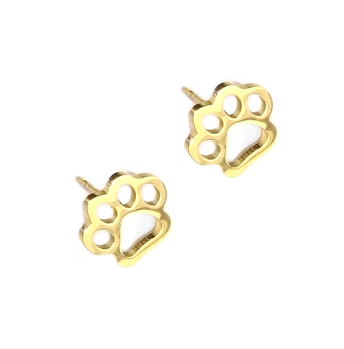 Gold Paw Print Outline Post Earrings (front) at Joji Boutique