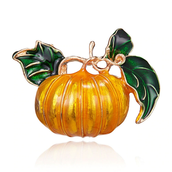 """1"""" x 1-1/2"""" golden pumpkin squash on a vine, with orange and green lacquering."""