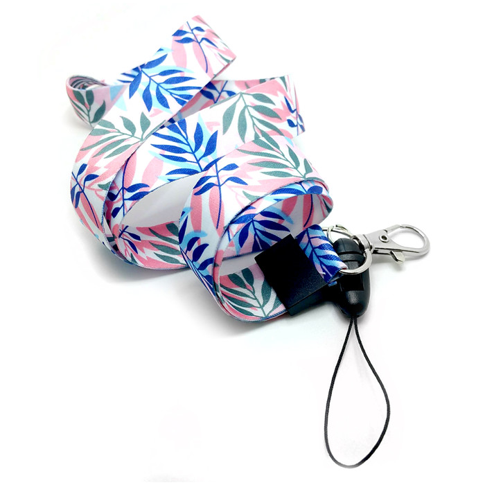 Tropical Leaves Fabric Lanyard Necklace with 2 ID/Badge/Card Holders