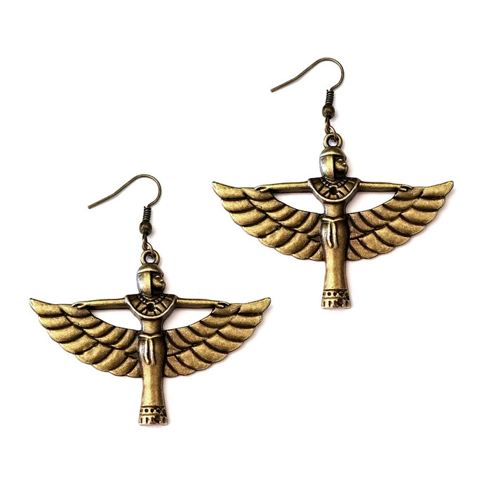 Antiqued Gold Winged Isis Egyptian Drop Earrings