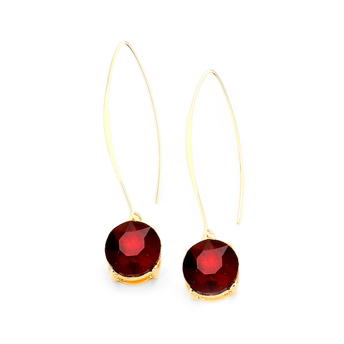 Gold and Red Round Solitaire Crystal Long Hook Drop Earrings