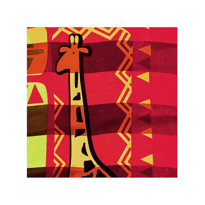 """African Geometric with Giraffe"" Silk-Feel Lightweight Square Scarf (Red)"