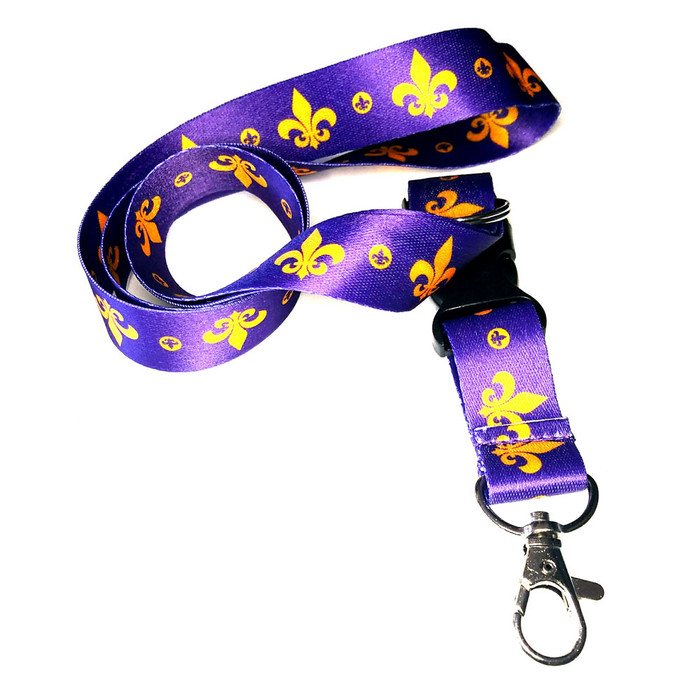 Gold & Purple Fleur-de-Lis Fabric Lanyard Necklace with 2 ID/Badge/Card Holders