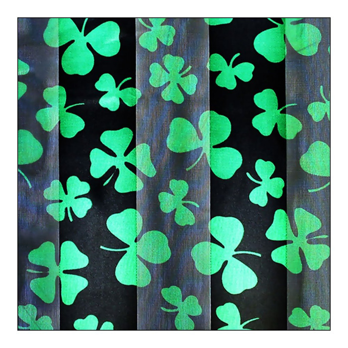 Black & Green Shamrock & Clover Silk-Feel Lightweight Long Scarf