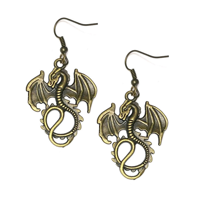 Antiqued Gold Dragon Drop Earrings