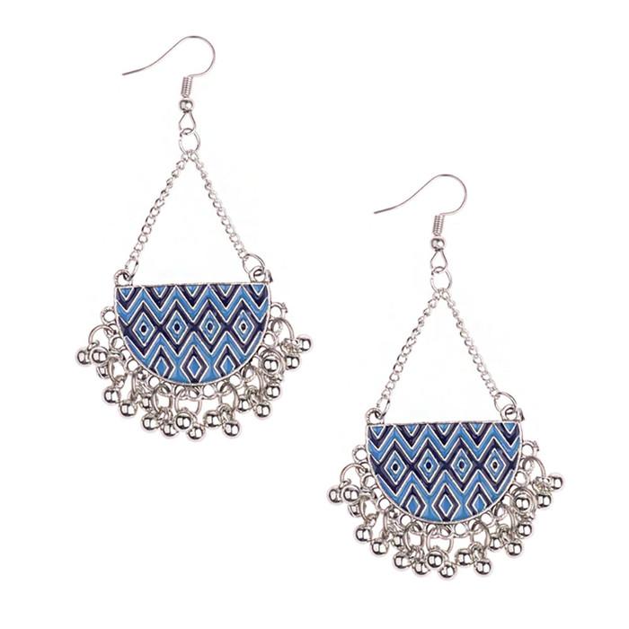 Blue Enameled Antiqued Silver Half-Circle Chandelier Earrings with Fringe