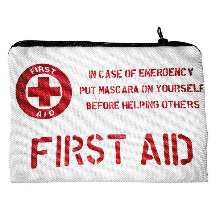 """First Aid"" Flat Fabric Cosmetic Bag"