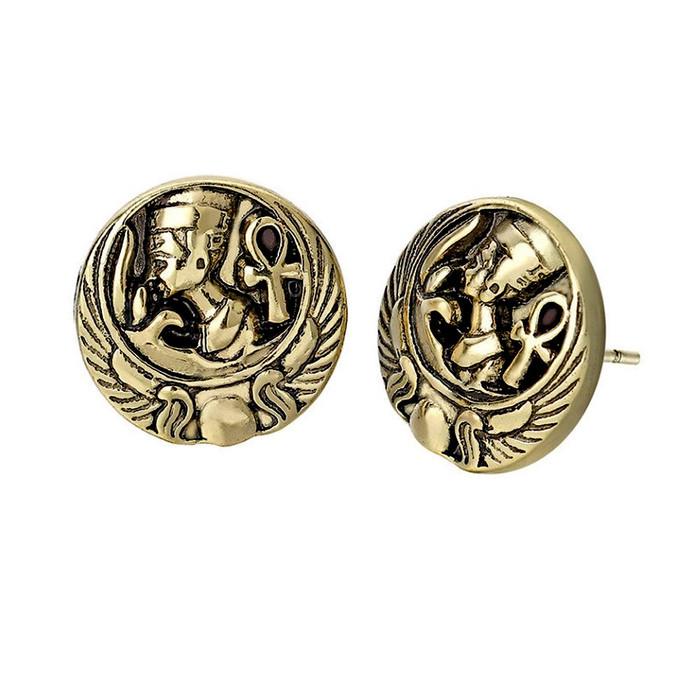 Antiqued Golden Nefertiti Egyptian Post Earrings