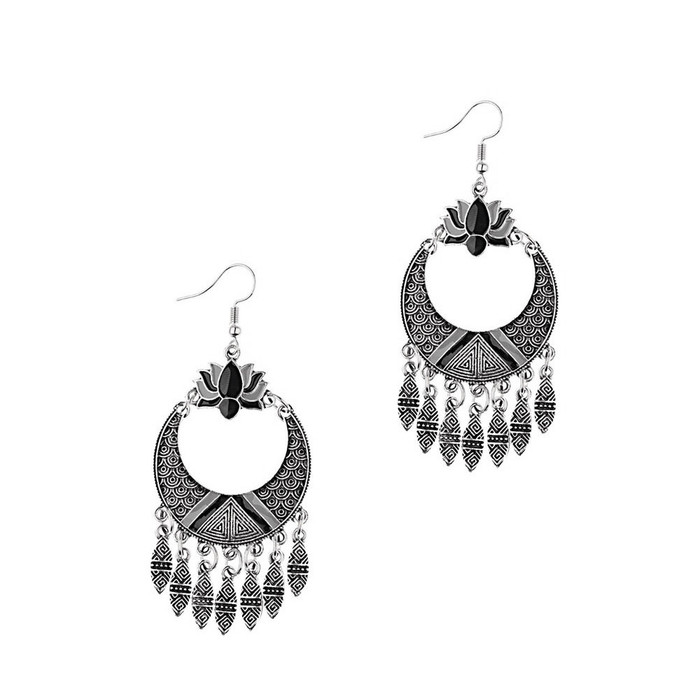 Enameled Antiqued Silver Circle Chandelier Earrings with Lotus and Fringe