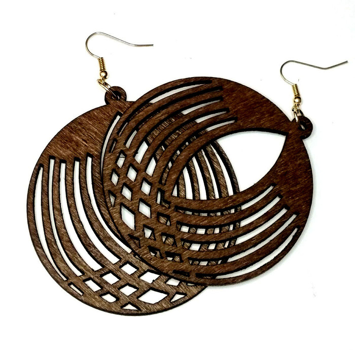 Lightweight Brown Wood Criss-Crossed Circle Drop Earrings