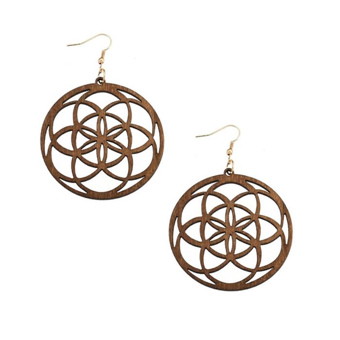 Lightweight Brown Wood Mandala/Flower of Life Circle Drop Earrings