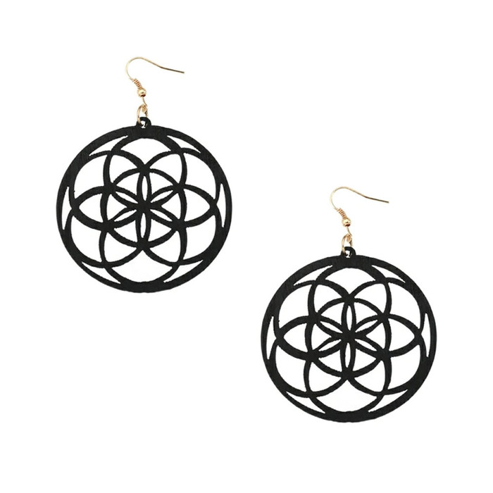 Lightweight Black Wood Mandala/Flower of Life Circle Drop Earrings