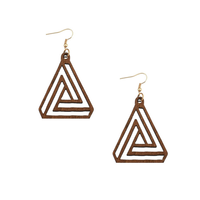 Lightweight Brown Wood Geometric Triangle Drop Earrings