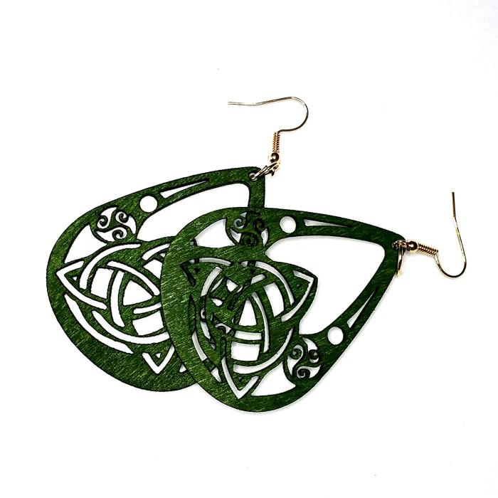Lightweight Green Wood Celtic Knot Teardrop Drop Earrings