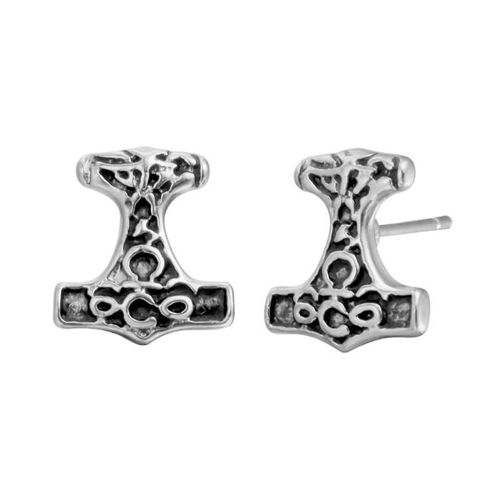 Antiqued Silver Viking/Thor Hammer Post Earrings