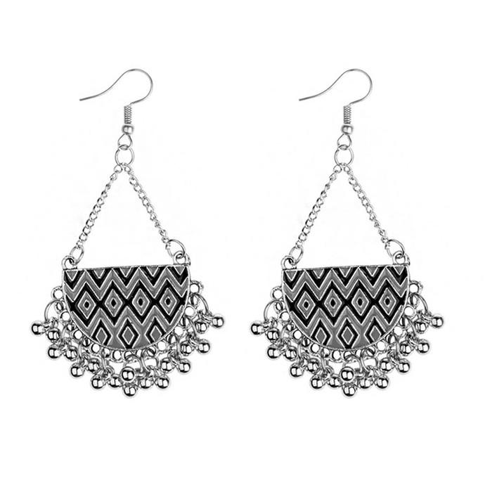 Black Enameled Antiqued Silver Half-Circle Chandelier Earrings with Fringe