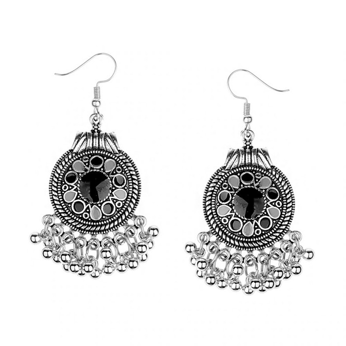 Black Enameled Antiqued Silver Circle Chandelier Earrings with Fringe