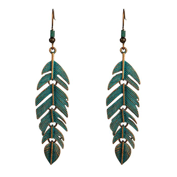 Jointed Patina Leaf Drop Earrings