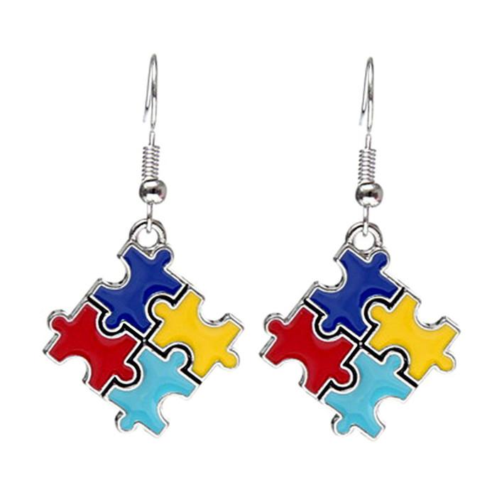 Enameled Autism Awareness/Puzzle Drop Earrings