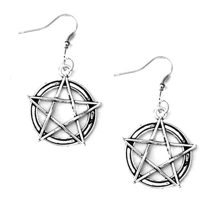 Antiqued Silver Woven Pentacle Drop Earrings