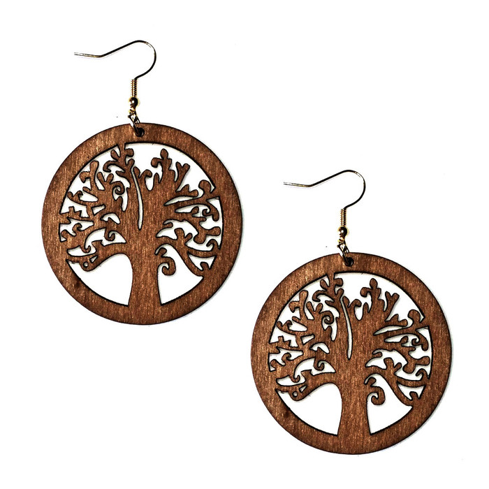 Lightweight Brown Wood Tree of Life Circle Drop Earrings