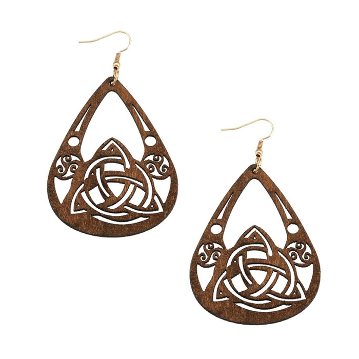 Lightweight Brown Wood Celtic Knot Teardrop Drop Earrings