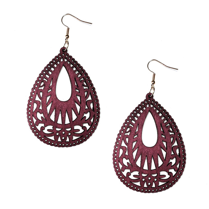 Lightweight Red Wood Cut-out Teardrop Drop Earrings