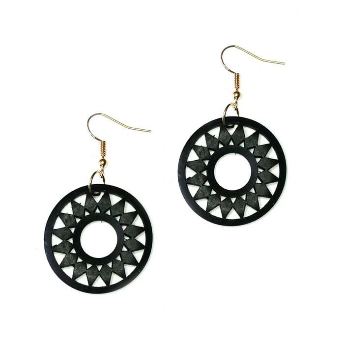 Lightweight Black Wood Sun Drop Earrings