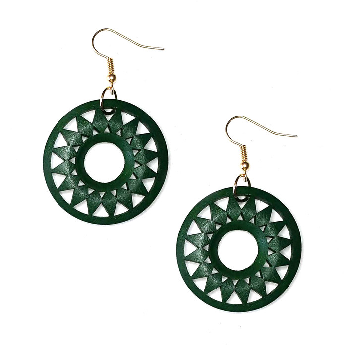 Lightweight Green Wood Sun Drop Earrings