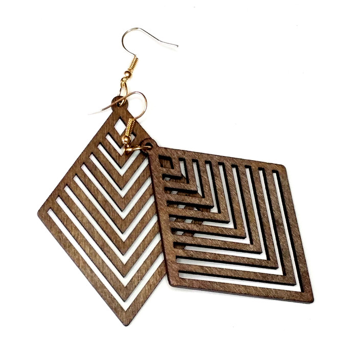 Lightweight Brown Wood Geometric Rhombus Drop Earrings