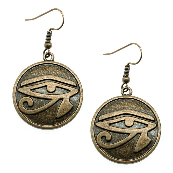 Antiqued Gold Eye Of Horus Egyptian Circle Drop Earrings
