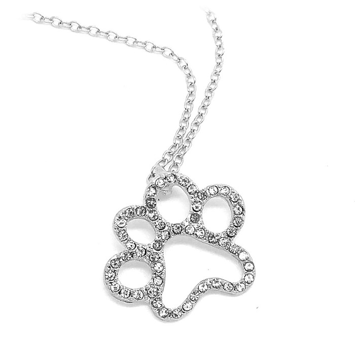 Bejeweled Silver Paw Print Outline Necklace