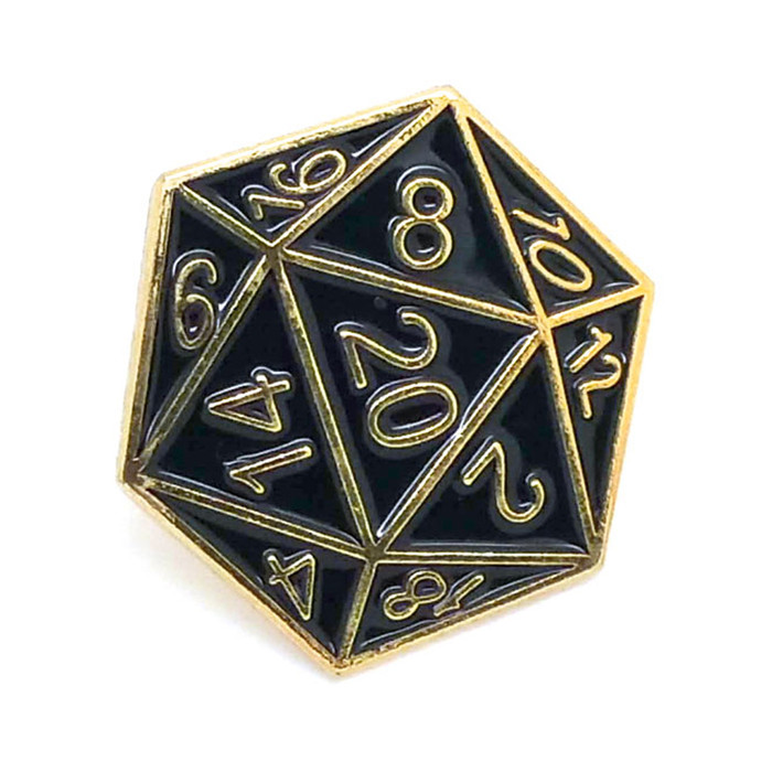 Gold & Black Enameled D20 Pin [20-Sided Die/Dice]
