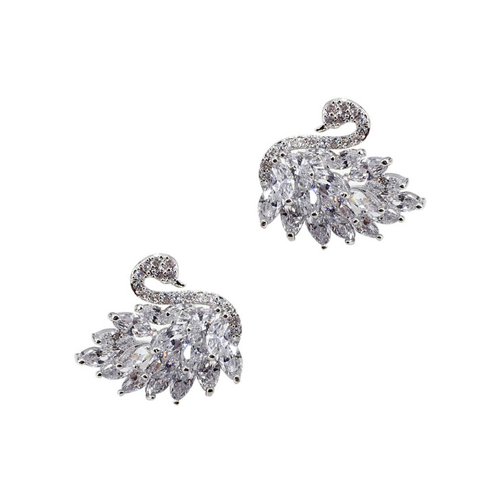 Bejeweled Silver Swan Post Earrings