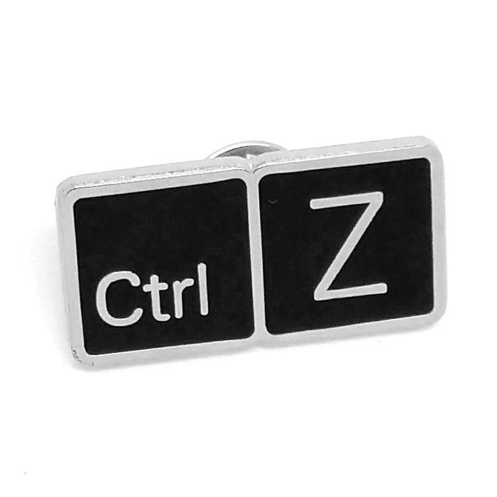 Black and Silver Control+Z Pin [UNDO Button/Key, Ctrl-Z]